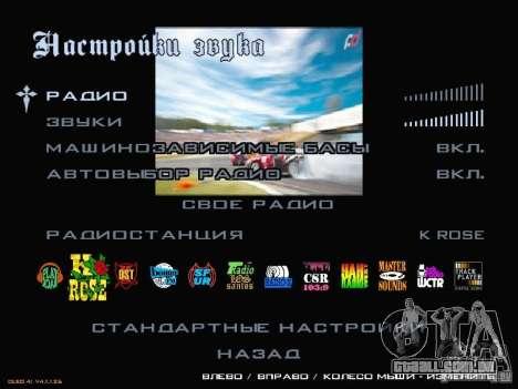 Fórmula Drift-estilo menu para GTA San Andreas por diante tela