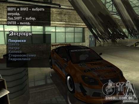 Chevrolet Cobalt SS NFS Shift Tuning para GTA San Andreas vista interior