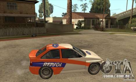Ford Escort RS Cosworth para GTA San Andreas vista inferior