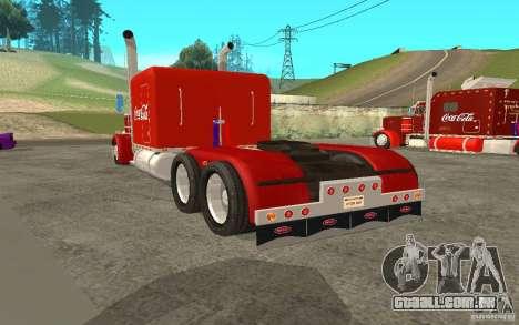 Peterbilt 379 Custom Coca Cola para GTA San Andreas traseira esquerda vista