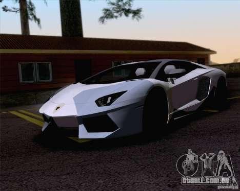 Trabalho de pintura Lamborghini Aventador Aventa para GTA San Andreas esquerda vista