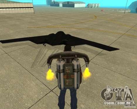 B-2 Spirit Stealth para GTA San Andreas traseira esquerda vista