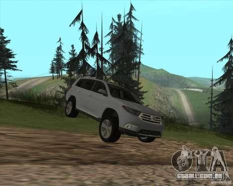 Toyota Highlander para GTA San Andreas vista interior