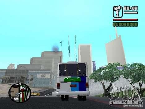 Cobrasma Monobloco Patrol II Trolerbus para GTA San Andreas traseira esquerda vista
