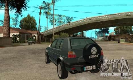 Volkswagen Golf Country MkII Syncro 4x4 1991 para GTA San Andreas traseira esquerda vista