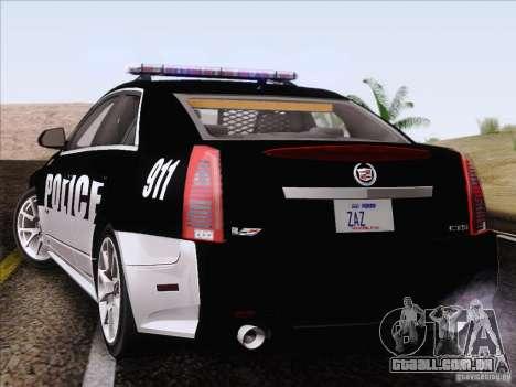 Cadillac CTS-V Police Car para GTA San Andreas esquerda vista