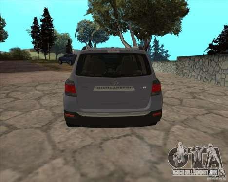 Toyota Highlander para GTA San Andreas traseira esquerda vista