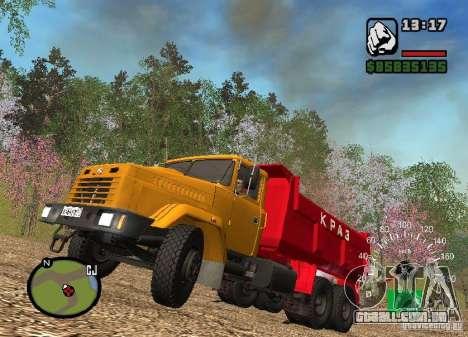 KrAZ 65055 caminhão para GTA San Andreas vista interior