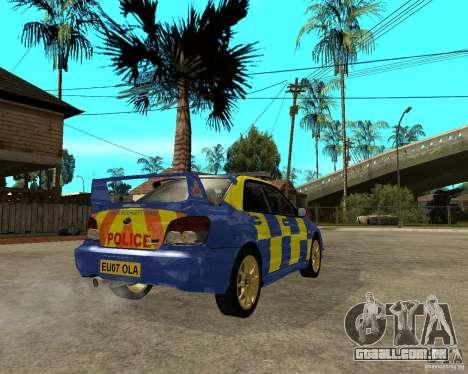 Subaru Impreza STi police para GTA San Andreas traseira esquerda vista