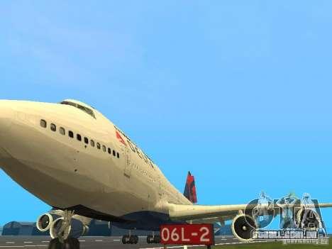 Boeing 747-400 Delta Airlines para GTA San Andreas vista interior