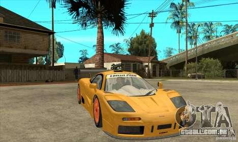 McLAREN F1 GTR GULF 1996 para GTA San Andreas vista traseira