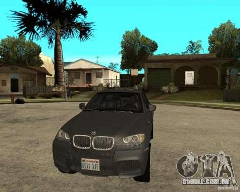 BMW X6 M para GTA San Andreas vista traseira