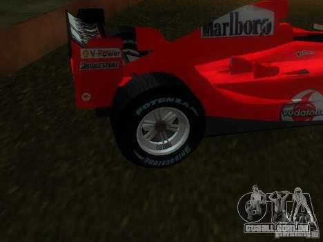 Ferrari F1 para GTA San Andreas traseira esquerda vista