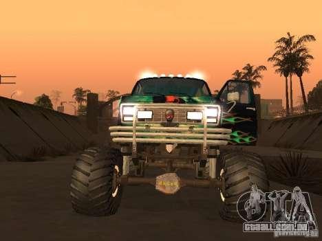 Ford Grave Digger para GTA San Andreas traseira esquerda vista