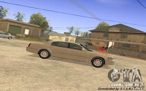Lincoln Towncar Secret Service para GTA San Andreas traseira esquerda vista