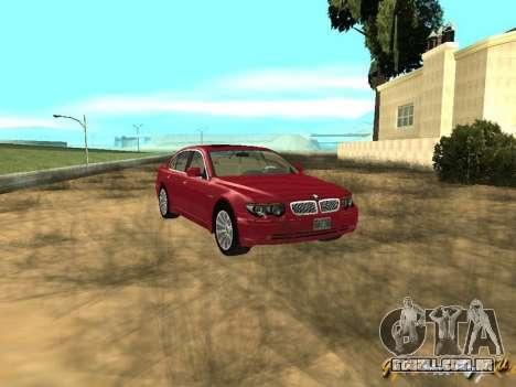 BMW 760I 2002 para GTA San Andreas vista traseira