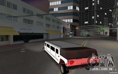 HUMMER H1 limousine para GTA Vice City vista traseira esquerda
