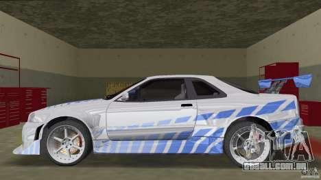 Nissan Skyline R-34 2Fast2Furious para GTA Vice City deixou vista