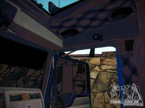 Kenworth W900 para GTA San Andreas vista interior