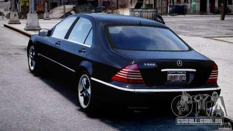 Mercedes-Benz W220 para GTA 4 traseira esquerda vista