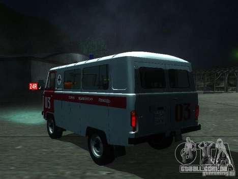 UAZ 3962 ambulância para GTA San Andreas traseira esquerda vista