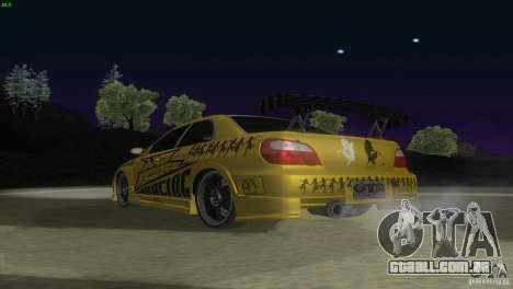 Subaru Impreza WRX No Fear para GTA San Andreas vista traseira