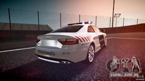 Audi S5 Hungarian Police Car white body para GTA 4 vista lateral