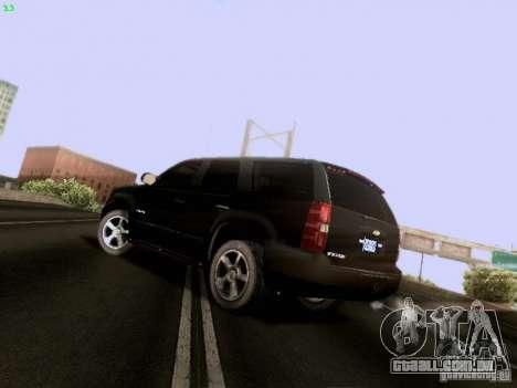 Chevrolet Tahoe 2009 Unmarked para GTA San Andreas traseira esquerda vista