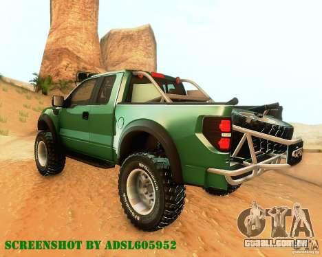 Ford F150 2011 SVT RapTor para GTA San Andreas vista traseira