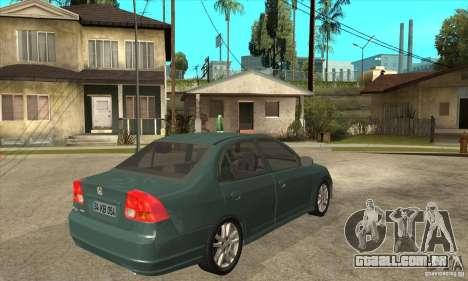 Honda Civic 2005 para GTA San Andreas vista direita
