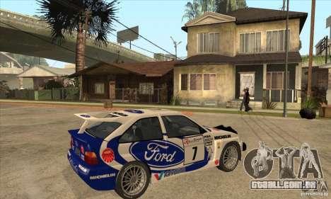 Ford Escort RS Cosworth para GTA San Andreas vista superior