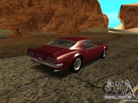 Pontiac Firebird 1970 para GTA San Andreas traseira esquerda vista