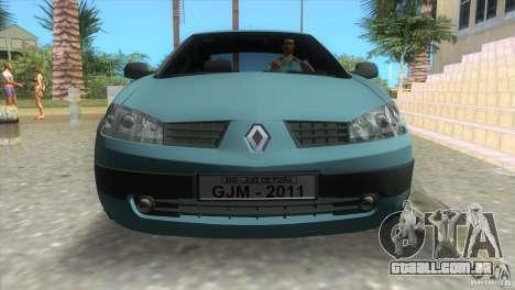 Renault Megane Sedan para GTA Vice City vista traseira esquerda