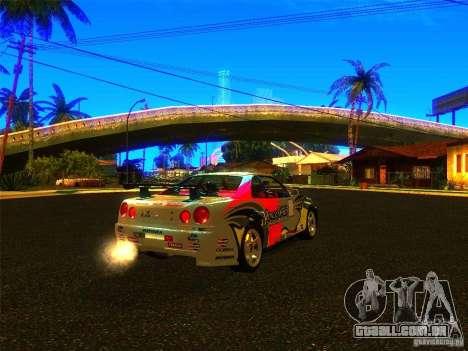 Nissan Skyline R34 Nismo para GTA San Andreas esquerda vista