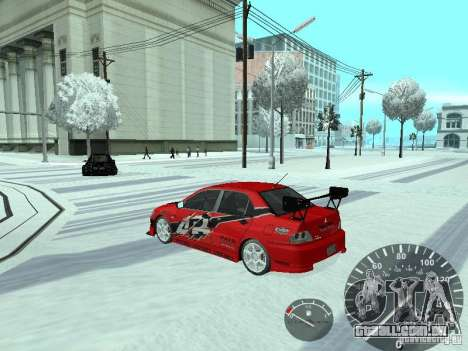 Mitsubishi Lancer Evolution 8 FQ400 para GTA San Andreas vista superior