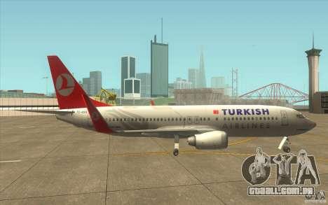 Boeing 737-800 THY para GTA San Andreas traseira esquerda vista