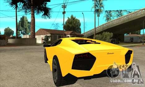 Lamborghini Reventon para GTA San Andreas traseira esquerda vista