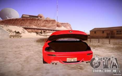 BMW M6 para GTA San Andreas vista interior