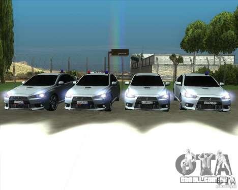 Mitsubishi Lancer Evolution X MR1 v2.0 para GTA San Andreas vista superior