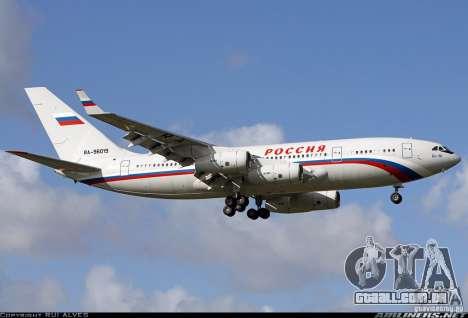 A IL-96 300 STC Rússia para GTA San Andreas vista traseira