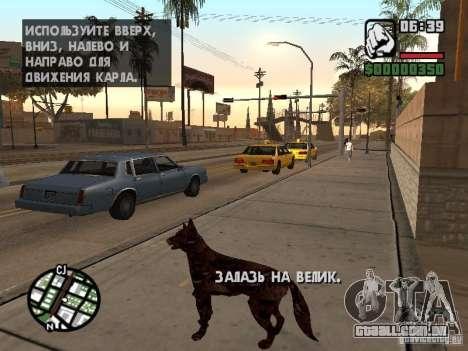 Cerberus de Resident Evil 2 para GTA San Andreas por diante tela