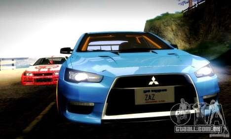 Mitsubishi Lancer Evo X Tuned para GTA San Andreas vista superior