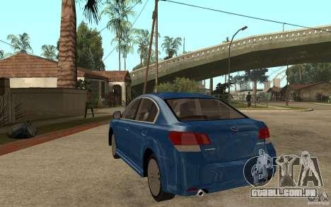 Subaru Legacy B4 2.5GT 2010 para GTA San Andreas traseira esquerda vista