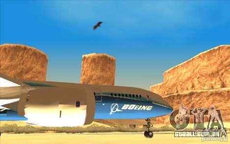 Boeing 787 Dreamlinear para GTA San Andreas vista direita