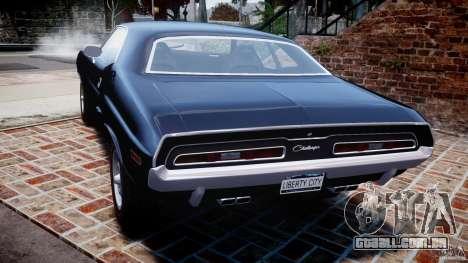 Dodge Challenger 1971 RT para GTA 4 traseira esquerda vista