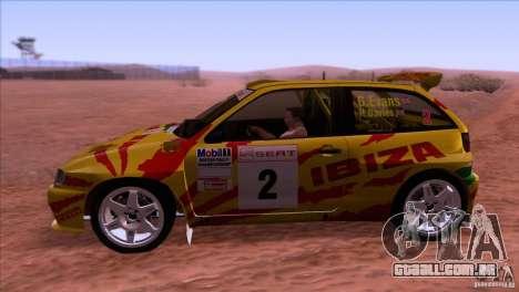Seat Ibiza Rally para GTA San Andreas vista direita