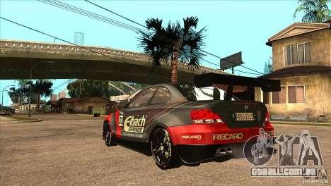 BMW 135i Coupe GP Edition Skin 2 para GTA San Andreas traseira esquerda vista