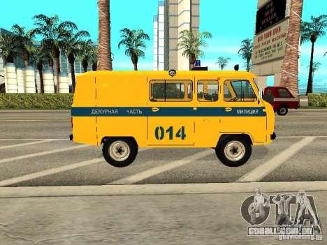 Policiais de 2206 UAZ para GTA San Andreas traseira esquerda vista