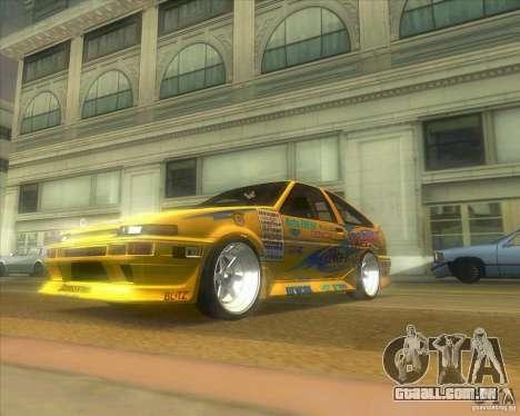 Ae86 tuned by Xavier para GTA San Andreas traseira esquerda vista