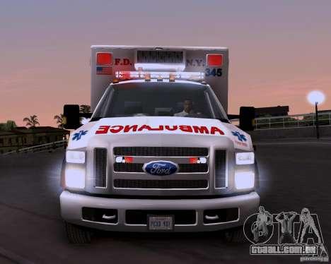 Ford F-350 F.D.N.Y para GTA San Andreas vista traseira